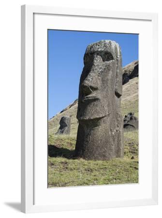 Chile, Easter Island. Rapa Nui NP, Historic Site of Rano Raraku-Cindy Miller Hopkins-Framed Photographic Print