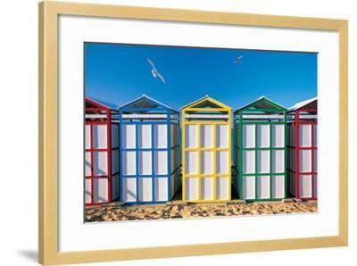 Spain, Costa Brava, Beach Huts-Peter Adams-Framed Photographic Print