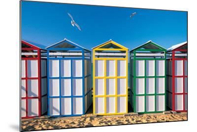 Spain, Costa Brava, Beach Huts-Peter Adams-Mounted Photographic Print