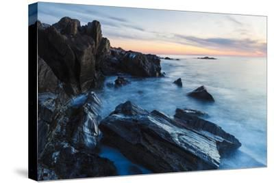 Dawn, Rocks, and Surf. Wallis Sands State Park, Rye, New Hampshire-Jerry & Marcy Monkman-Stretched Canvas Print