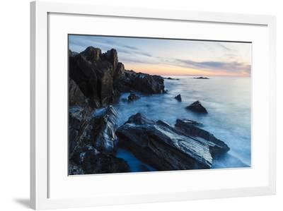 Dawn, Rocks, and Surf. Wallis Sands State Park, Rye, New Hampshire-Jerry & Marcy Monkman-Framed Photographic Print
