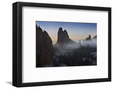 Colorado, Colorado Springs. Morning Fog in Garden of the Gods Park-Don Grall-Framed Photographic Print