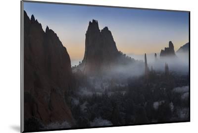 Colorado, Colorado Springs. Morning Fog in Garden of the Gods Park-Don Grall-Mounted Photographic Print