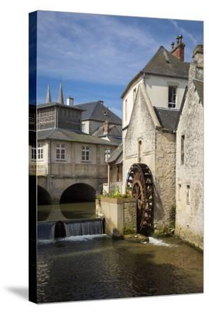 Mill Along River Weir and Medieval Town of Bayeux, Normandy France-Brian Jannsen-Stretched Canvas Print