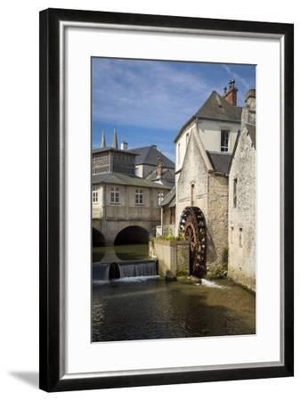 Mill Along River Weir and Medieval Town of Bayeux, Normandy France-Brian Jannsen-Framed Photographic Print