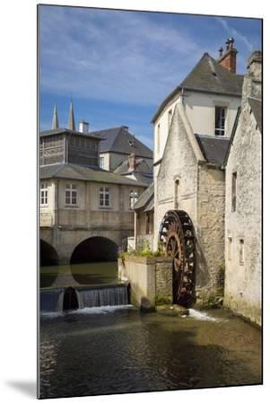Mill Along River Weir and Medieval Town of Bayeux, Normandy France-Brian Jannsen-Mounted Photographic Print