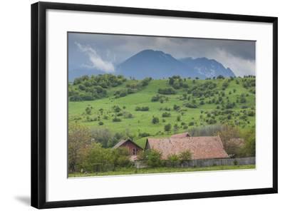 Romania, Transylvania, Bran, House and Bucegi Mountains, Spring-Walter Bibikow-Framed Photographic Print
