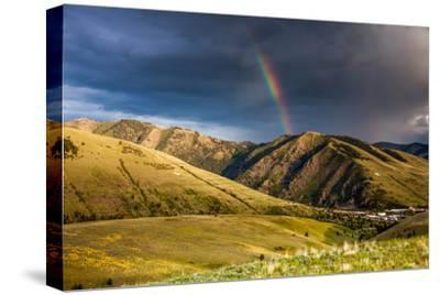 Rainbow at Sunset over Hellgate Canyon in Missoula, Montana-James White-Stretched Canvas Print