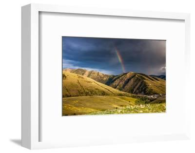 Rainbow at Sunset over Hellgate Canyon in Missoula, Montana-James White-Framed Photographic Print