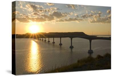 Four Bears Bridge Stretches across the Missouri River, North Dakota-Angel Wynn-Stretched Canvas Print