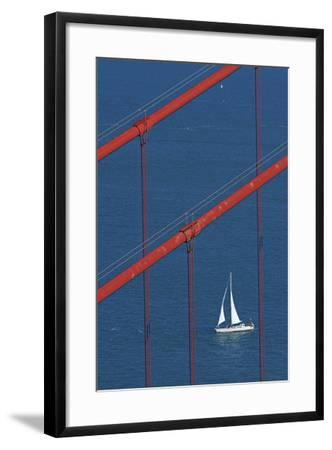 California, San Francisco, Golden Gate Bridge and Yacht-David Wall-Framed Photographic Print