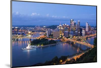 Pittsburgh, Pennsylvania, Skyline from Mt Washington of Downtown City-Bill Bachmann-Mounted Photographic Print