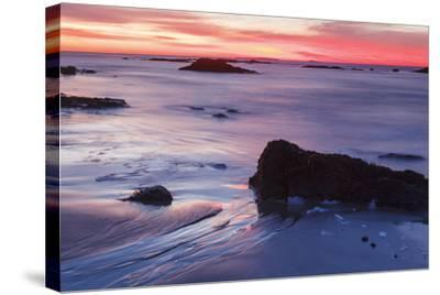 Dawn over the Atlantic Ocean in Rye, New Hampshire. Wallis Sands SP-Jerry & Marcy Monkman-Stretched Canvas Print