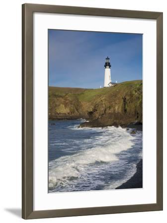 Yaquina Head Lighthouse, Newport, Oregon, USA-Brian Jannsen-Framed Photographic Print