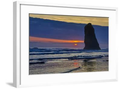 USA, Oregon, Cannon Beach. Sunset on Lone Seastack-Jean Carter-Framed Photographic Print