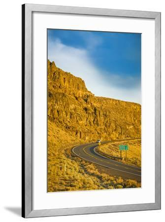 Washington, Vantage Car on Road Through Columbia River Basalt Group-Richard Duval-Framed Photographic Print