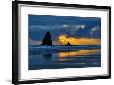 USA, Oregon, Cannon Beach. Sunset on Needles Seastack-Jean Carter-Framed Photographic Print