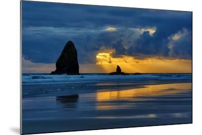 USA, Oregon, Cannon Beach. Sunset on Needles Seastack-Jean Carter-Mounted Photographic Print