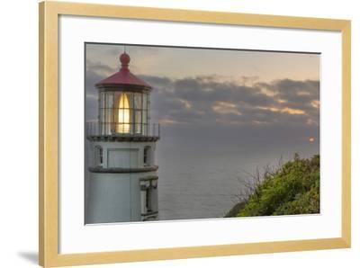 Heceta Head Lighthouse at Sunset Near Florence, Oregon, USA-Chuck Haney-Framed Photographic Print