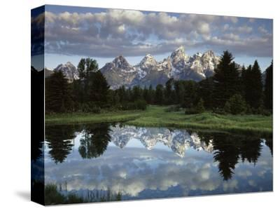 Wyoming, Grand Teton NP, the Grand Tetons and Clouds-Christopher Talbot Frank-Stretched Canvas Print