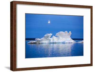 Canada, Nunavut, Moon Rises Behind Melting Iceberg in Frozen Channel-Paul Souders-Framed Premium Photographic Print