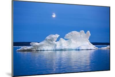 Canada, Nunavut, Moon Rises Behind Melting Iceberg in Frozen Channel-Paul Souders-Mounted Premium Photographic Print