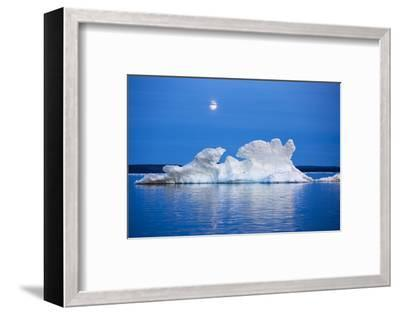 Canada, Nunavut, Moon Rises Behind Melting Iceberg in Frozen Channel-Paul Souders-Framed Photographic Print