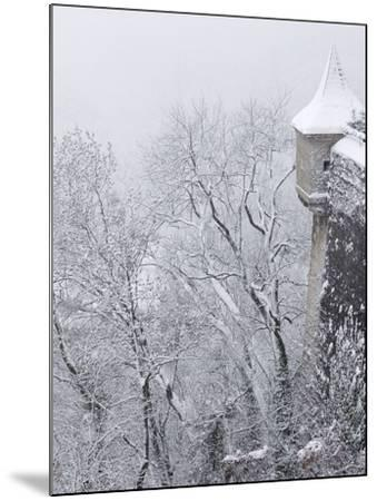 Austria, Salzburg. Part of Salzburg Castle Wall in the Winter-Bill Young-Mounted Photographic Print