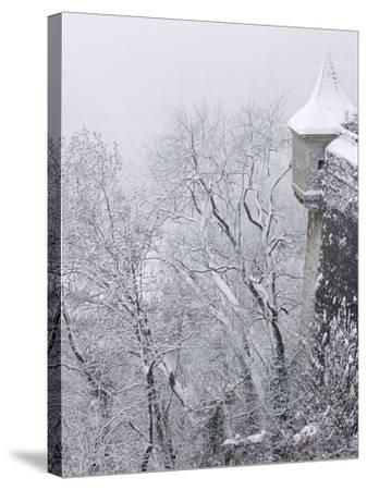Austria, Salzburg. Part of Salzburg Castle Wall in the Winter-Bill Young-Stretched Canvas Print