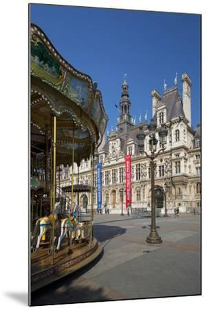 Carousel in the Square Below Hotel de Ville, Paris, France-Brian Jannsen-Mounted Photographic Print
