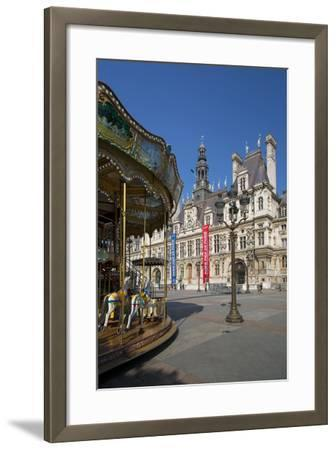 Carousel in the Square Below Hotel de Ville, Paris, France-Brian Jannsen-Framed Photographic Print