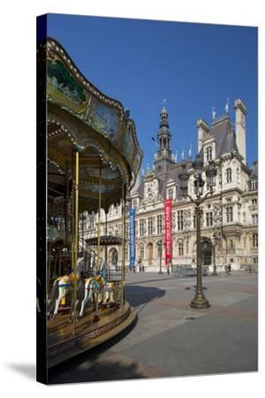 Carousel in the Square Below Hotel de Ville, Paris, France-Brian Jannsen-Stretched Canvas Print