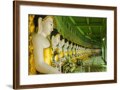 Myanmar. Mandalay. Sagaing Hill. Thirty Caves Temple. Row of Buddhas-Inger Hogstrom-Framed Photographic Print