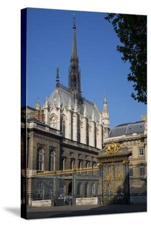 Palais Du Justice with Sainte Chappelle Overhead, Paris, France-Brian Jannsen-Stretched Canvas Print