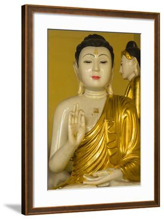 Myanmar. Yangon. Shwedagon Pagoda. Buddha in the Discussion Mudra-Inger Hogstrom-Framed Photographic Print