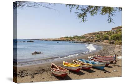 Fishing Boats on Beach, Cidade Velha, Santiago Island, Cape Verde-Peter Adams-Stretched Canvas Print
