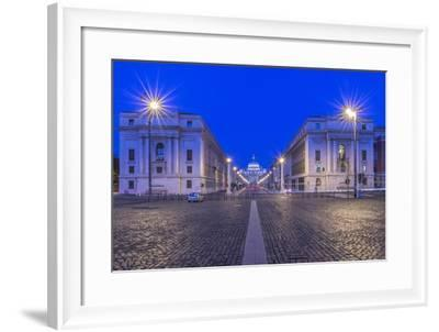 Italy, Rome, Via Della Conciliazione and St. Peter's Basilica at Dawn-Rob Tilley-Framed Photographic Print