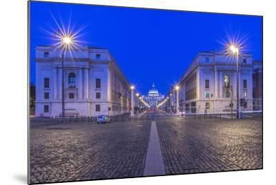 Italy, Rome, Via Della Conciliazione and St. Peter's Basilica at Dawn-Rob Tilley-Mounted Photographic Print