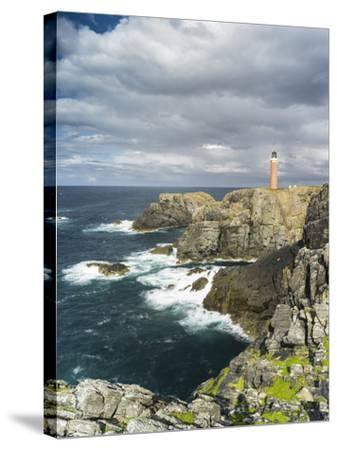 Isle of Lewis, Coast and Lighthouse at the Butt of Lewis. Scotland-Martin Zwick-Stretched Canvas Print