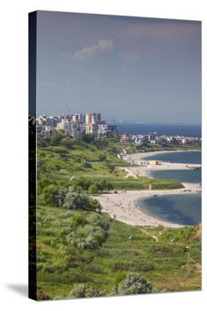 Romania, Black Sea Coast, Constanta, Modern Beach, Beachfront Building-Walter Bibikow-Stretched Canvas Print