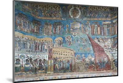 Romania, Voronet, Voronet Monastery, Frescoes Done in Voronet Blue-Walter Bibikow-Mounted Photographic Print