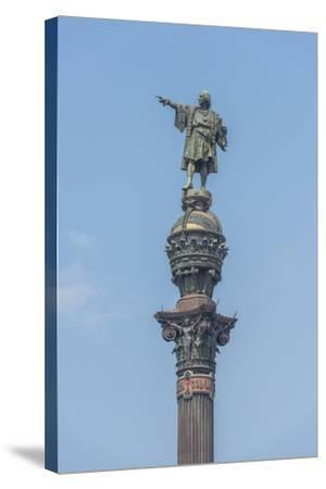 Spain, Barcelona, Christopher Columbus Monument-Jim Engelbrecht-Stretched Canvas Print