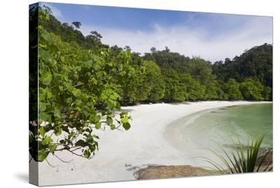 Emerald Bay, Beach and Palm Trees, Palau Pangkor Laut, Malaysia-Peter Adams-Stretched Canvas Print