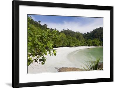Emerald Bay, Beach and Palm Trees, Palau Pangkor Laut, Malaysia-Peter Adams-Framed Photographic Print