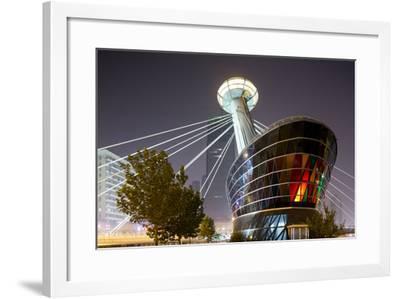 China, Tianjin, Glowing Restaurant Lights at Base of Ligonglou Bridge-Paul Souders-Framed Photographic Print
