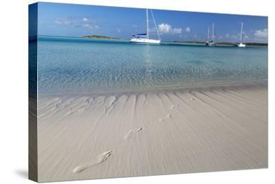 Bahamas, Exuma Island, Cays Land and Sea Park. Footprints and Sailboat-Don Paulson-Stretched Canvas Print