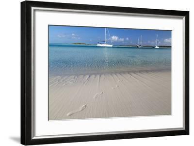 Bahamas, Exuma Island, Cays Land and Sea Park. Footprints and Sailboat-Don Paulson-Framed Photographic Print