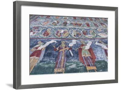 Romania, Sucevita, Sucevita Monastery, Exterior Religious Frescoes-Walter Bibikow-Framed Photographic Print
