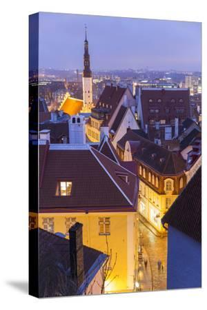 View of Old Town at Dusk, from Toompea, Tallinn, Estonia-Peter Adams-Stretched Canvas Print