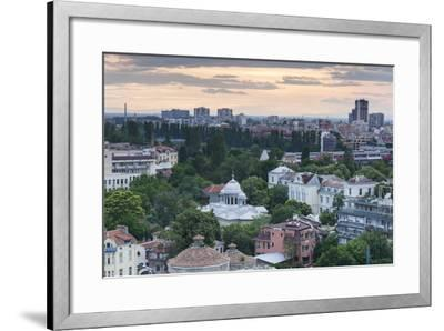 Bulgaria, Southern Mountains, Plovdiv, View from Nebet Tepe Hill, Dusk-Walter Bibikow-Framed Photographic Print